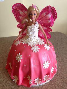 Pink Barbie birthday cake