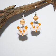 Boucles d'oreilles en origami en forme de tête de panda orange : Boucles d'oreille par mellerouge