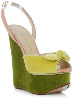 Charlotte Olympia Green 'Meridith' Wedge Sandal €798 #Shoes #Wedges #Heels