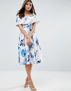 ASOS | ASOS WEDDING Pink Base Floral Bardot Prom Midi Dress