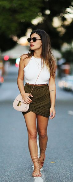 Hot girls skirt. Shop this army green ruched bodycon skirt at m.shein.com