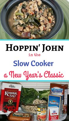 Traditionally eaten on New Years Day for good luck and prosperity this easy twist on Hoppin' John uses kale or collard greens, black eyed peas, rotel, and smoked sausage. Don't mess with superstition or tradition! Get the New Year started right! New Years Day Meal, New Years Dinner, New Years Day Recipe, Slow Cooker Recipes, Crockpot Recipes, Cooking Recipes, Pea Recipes, Healthy Recipes, Soups