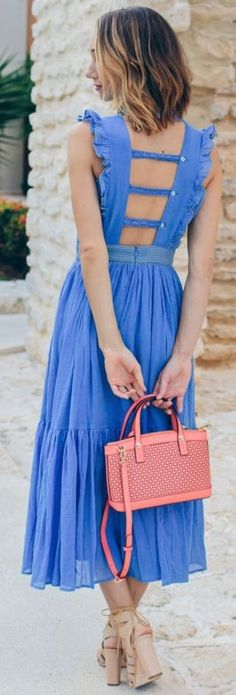Carolina K Peasant Dress | SHOES: Luz Tassel Sandals | BAG: West 57th Perforated Mini Satchel | EAR CUFFS: Rose Gold Ear Cuffs | Loeffler Randall Luz Sandals | Chicago Style Blogger || Fox & She