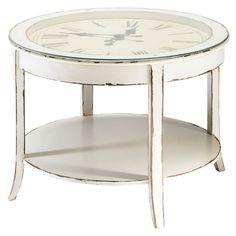 Runde couchtisch aus Glas und Holz mit Uhr, D 72cm, weiß antik Teatime Teatime