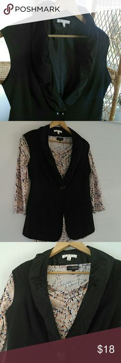 """Cabi Black Vest Versatile black vest, 1 button closure, pretty taffeta shawl type collar. Easily casual, or dress-up. It is in great condition. 15.5"""" across at button, 24""""long. Happy Holidays. CAbi Other"""