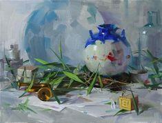 """Daily Paintworks - """"Vase and Bamboo"""" - Original Fine Art for Sale - © Qiang Huang"""