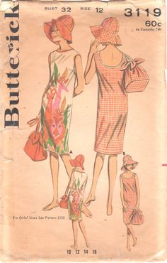Butterick 3119 1960s Misses Low Back Beach Dress Drawstring Bag and Wide Brim Gat by mbchills