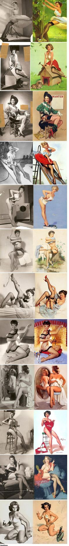Fantastic comparison of pin-up paintings next to the reference photos used by the artists.