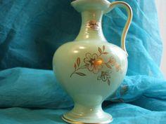 Vintage Vase – Jasba No. 524 – labelled – Mint Green Glaze and Real Gold Decor –…