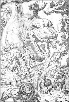 Devil Dinosaur splash page - pencils by Jack Kirby. #comics