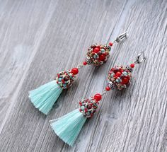 Tassel Earrings-Bohemian earrings-Long Earrings by YanushkaJewelry