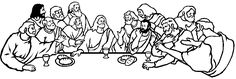 The Last Supper Black And White Clipart #1
