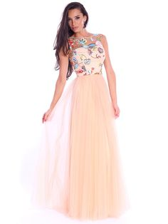 83c1df6160d Cream Floral-embroidered Sleeveless Tulle Bateau boat Neck Evening Dress  Maxi Dresses