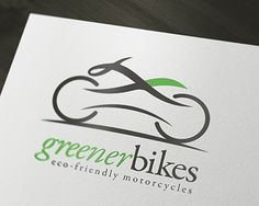 Greener Bikes Logo design - A modern representation of a motorbike. The logo is made of several curved and fluid shapes reminding of the speed and maneuverability of motorcycles. The green color stands for eco-friendliness, although the logo can be reworked to fit conventional motorcycles as well. Price $800.00