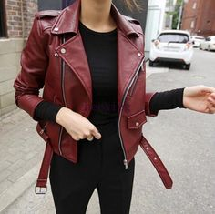 Fashion Women's Vintage Slim Motorcycle Pu Soft Leather Jacket Zipper Outwear Sz