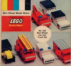 Mini-Wheel Car and Truck Set 1970 Vintage Lego, Retro Vintage, Childhood Toys, Childhood Memories, Classic Lego, Lego Truck, 8 Year Old Boy, Model Maker, Lego Worlds