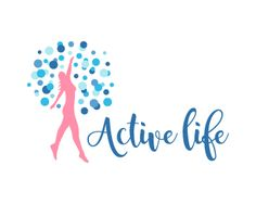 Active life Logo design - Creative and attractive design logo of lady dancing and enjoying the healthy life style with some bubbles around her in a very unique design, simple design in peach and blue colors only. This design can be useful for fitness and gym, saloon and beauty parlor, cosmetics and natural products, health products, food products and more. Price $399.00