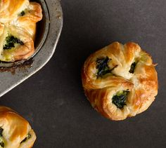 Spinach and feta arrive in tiny puff-pastry packages.