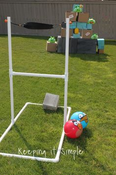 DIY backyard slingshot for Angry Birds type games.