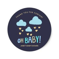 Navy Blue Clouds Oh Baby Boy Baby Shower Classic Round Sticker - baby shower ideas party babies newborn gifts