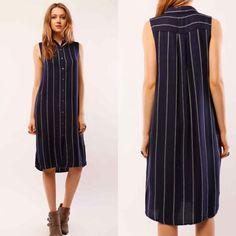 Sleeveless Tunic Button Down Striped Dress Navy/White SML  #Lumiere #ShirtDress