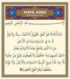 """""""Her farz namazdan sonra Âyetü'l-Kürsî'yi okuyan kimseyle cennet arasına yalnız ölüm vardır.""""  #Hadîs-i Şerîf"""