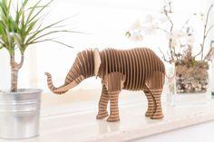 Elephant Frank Junior - cardboard figure 3D Puzzle DIY Kit Paper recycled sculptur animal wall decor Gift Diy kit original