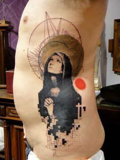 Xoil. Mary praying, one of my favorite tattoos of all time. Such a modern abstract spin on the old icons of saints. I love how he also worked in the cross in the negative space. Brilliant work. Has a lot of geometric shapes as well.