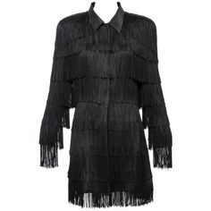 Norma Kamali OMO Black Fringe Long Jacket, Circa 1980's (20,820 THB) ❤ liked on Polyvore featuring outerwear, jackets, long jacket, 80s jackets, 1980s leather jacket, norma kamali and fringe jacket