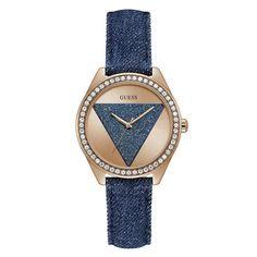 Γυναικείο ρολόι GUESS W0884L7 με μπλε ροζ καντράν και τζιν δερμάτινο λουρί με ροζ ατσάλινο τοκά | Ρολόγια Τσαλδάρης στο Χαλάνδρι #Guess #ροζ #τζιν #ρολοι
