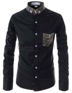 (AL111-BLACK) Slim Fit Button Down Chest Pocket Patched Stretchy Long Sleeve Shirts