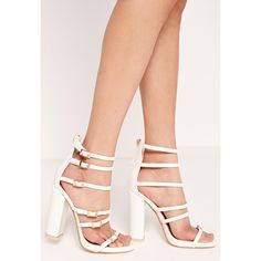 Missguided Block heel buckled sandal White (75 AUD) ❤ liked on Polyvore featuring shoes, sandals, nude, evening shoes, nude shoes, nude block heel sandals, white block heel sandals and buckle sandals