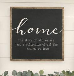 Home sign. Wood sign. Framed sign. Farmhouse decor.
