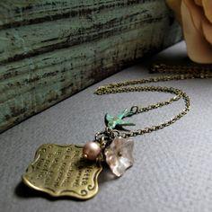Vintage Bird Necklace Love Letter Pendant by StefenyStanyer, $23.00