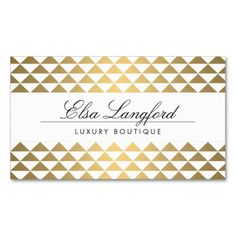 On-Trend Gold Prism Pattern Customizable Business Card Template for Boutiques, Fashion Designers, Shops, Jewelry Design, Bloggers, Stylists, Salons and more. Click to personalize the front and back with your own info.