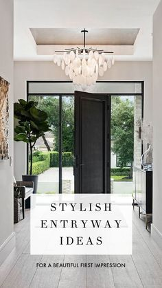 Stylish entryway ideas for a beautiful first impression - light and airy entryway foyer with stunning light fixture and black framed doorway - Front Door Stain Mohawk Black We wanted to achieve as much glass as possible around the front door and a statement fixture than could be seen from the road #frontdoor #frontdoorideas #door #sidelights Home, Foyer Decor, Home Decor Styles, Entry Decor, Entryway Table Decor, Entryway Furniture, Front Door, Side Lights, Entryway
