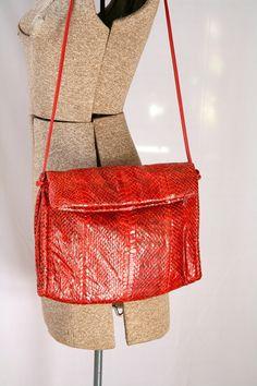 Vintage 1980's Snakeskin Purse  Red  by PomegranateVintage on Etsy, $37.99