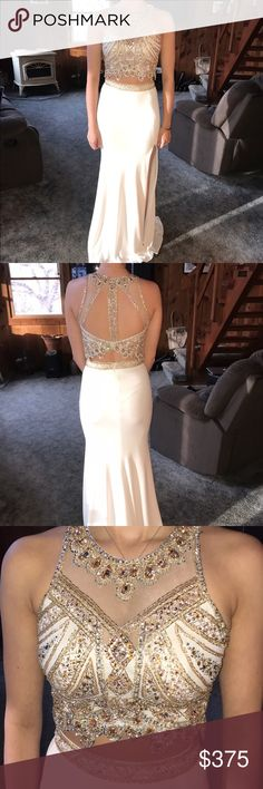 white and gold, two piece prom dress. worn once two piece, gold/ rose gold beaded top. high neckline with mesh. ivory bottom with beaded band. left leg slit. Jasz Cotutre Dresses Prom