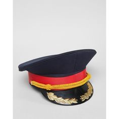 Sacred Hawk Military Hat ($39) via Polyvore featuring accessories, hats, floral hats, peaked hat, floral print hat, military hats and military style hats