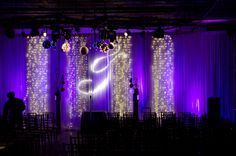 Crystal curtains with white lights backdrop