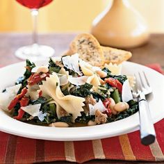 Farfalle with Sausage, Cannellini Beans, and Kale --- I'm replacing the sausage with vegetarian sausage and calling this dinner!