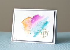 Water color card - Lawn Fawn Stamp set Hello Sunshine! - Sharna Anne Designs