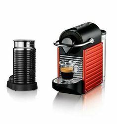 KRUPS XN3006AP Nespresso 'Pixie' coffee machine and Aeroccino in Red