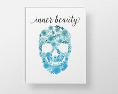 Flower skull print - bathroom wall decor art - inner beauty makeup modern closet decor fashion quote closet poster watercolor style flowers