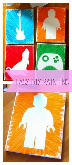 Lego Painting, Kids Painting Projects, Easy Painting For Kids, Easy Canvas Painting, Easy Paintings, Projects For Kids, Diy For Kids, Diy Projects, Kids Crafts
