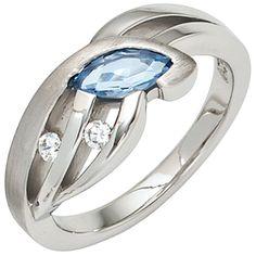 Wunderschöner Silberring: Ring aus Silber teilmattiert mit blauem Zirkonia und zwei farblosen Zirkonias