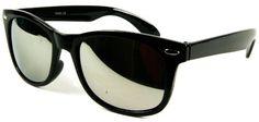 abillo Damen Herren Sonnenbrille UV 400 Wayfarer Stil verspiegelt Silber Retro Nerdbrille Nerd Sonnen Brille WG3925 Schwarz