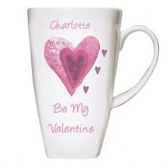 Valentines Day Gift Ideas - Personalised Hearts Latte Mug - £11.99