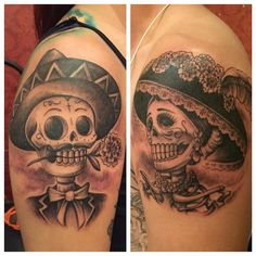 Sugar skull couple tattoo images in collection) page 2 Couple Tattoos Unique Meaningful, Couple Tattoos Love, Love Tattoos, Body Art Tattoos, Tattoos For Guys, Hand Tattoos, Watch Tattoos, Tatoos, Mexican Skull Tattoos