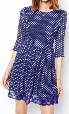 Lovely Round Neck Three Quarter Sleeve A Line Dress